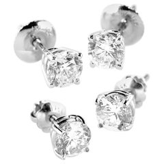 Round Diamond Stud Earrings Pair 14k 1.01ct tw  4-Prong Martini Setting Basket