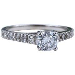 Round Diamond Engagement Ring 0.64 Carat Diamond Band in 14 Karat White Gold