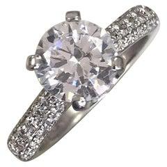 Round Diamond Engagement Ring, 2 Carat Platinum Diamonds Down Shank