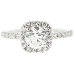 Round Diamond Engagement Ring with Cushion Halo Concierge Diamonds 1 Carat