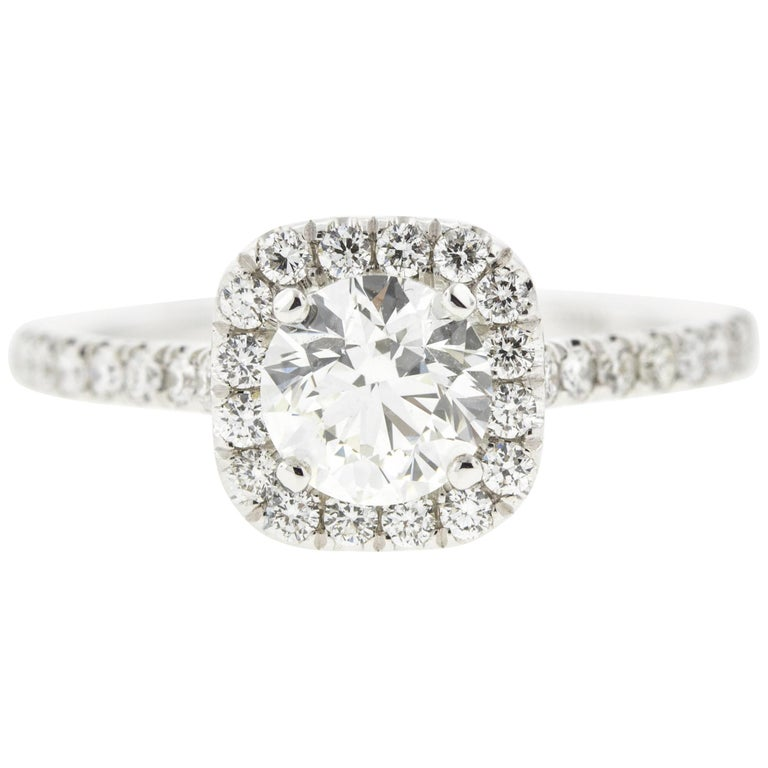 Round Diamond Engagement Ring with Cushion Halo Concierge Diamonds 1 Carat For Sale