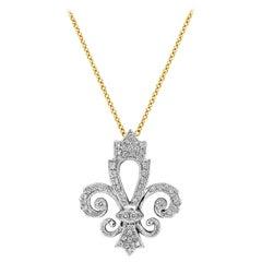 Roman Malakov Round Diamond Fleur-de-Lis Pendant Necklace