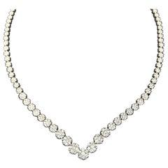 Round Diamond Flower Contour Tennis Necklace 4.00 Carat in 14 Karat White Gold