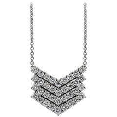 Round Diamond Four-Row V-Shape Pendant Necklace