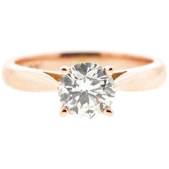 Round Diamond (GIA Certified) Rose Gold Built-In Solitaire Engagement Ring