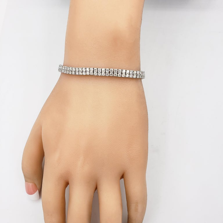 Modern Round Diamond Gold Double-Row Tennis Bracelet For Sale