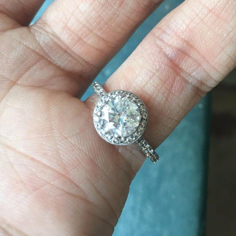 Round Diamond Halo Engagement Ring, 1.2 Center, 1.7 Carat