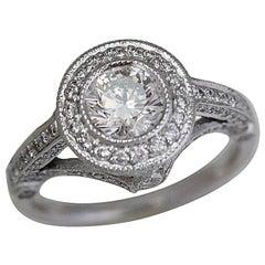 Round Diamond Halo Engagement Ring 1.91 Carat TW Set in Platinum