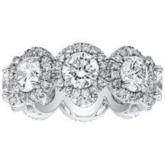 Round Diamond Halo Eternity Wedding Band