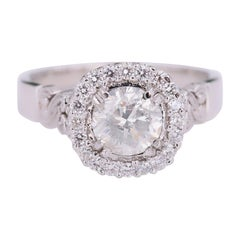 Round Diamond Halo Pave Twist Band Engagement Ring 1.50 Carat