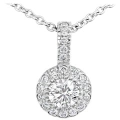 Roman Malakov Round Diamond Halo Pendant Necklace
