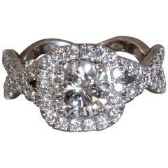 Round Diamond Halo Twist Engagement Ring, 1.3 Center, 2.3 Carat