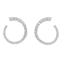 Round Diamond Hoop Earring 3.18 Carat in 18 Karat White Gold IGI Certified