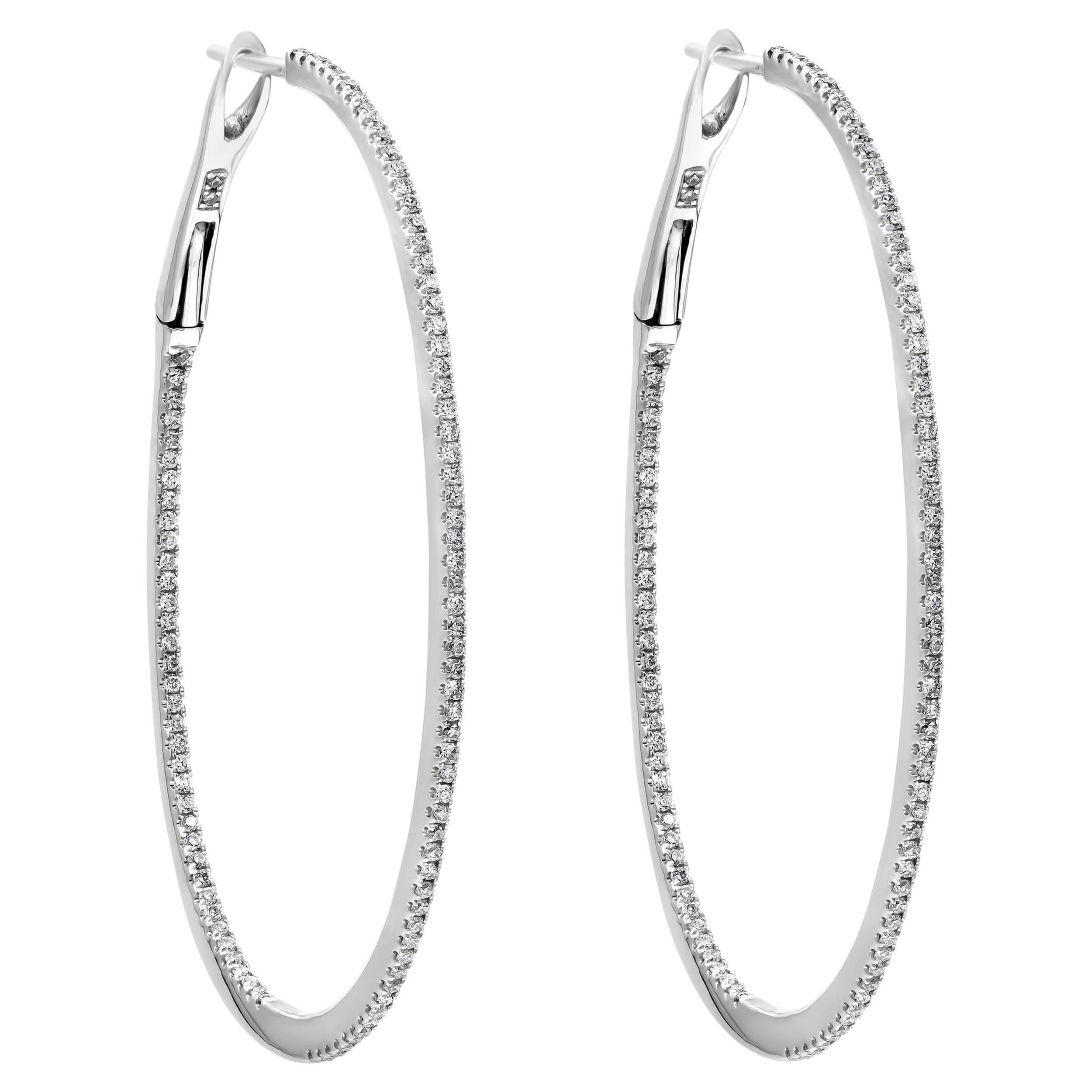 Round Diamond Hoop Earrings in 18 Karat White Gold
