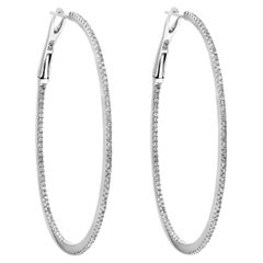 Round Diamond Hoop Earrings in 18 Karat White Gold