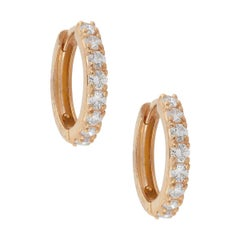 Round Diamond Huggie Earrings