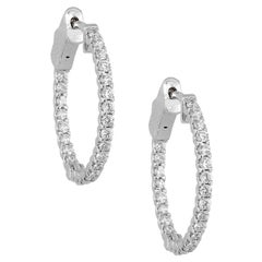 Round Diamond in and Out Hoops