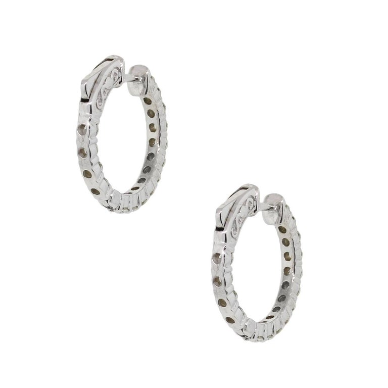 Round Cut Round Diamond Inside Out Hoop Earrings For Sale
