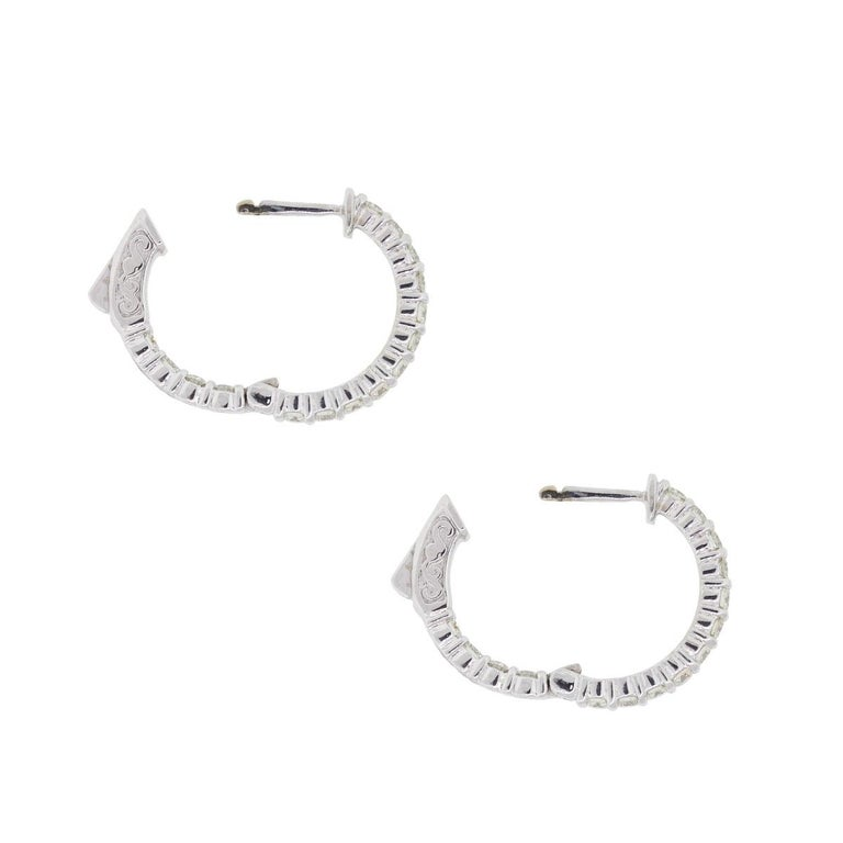 Round Diamond Inside Out Hoop Earrings In New Condition For Sale In Boca Raton, FL