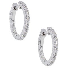 Round Diamond Inside Out Hoop Earrings