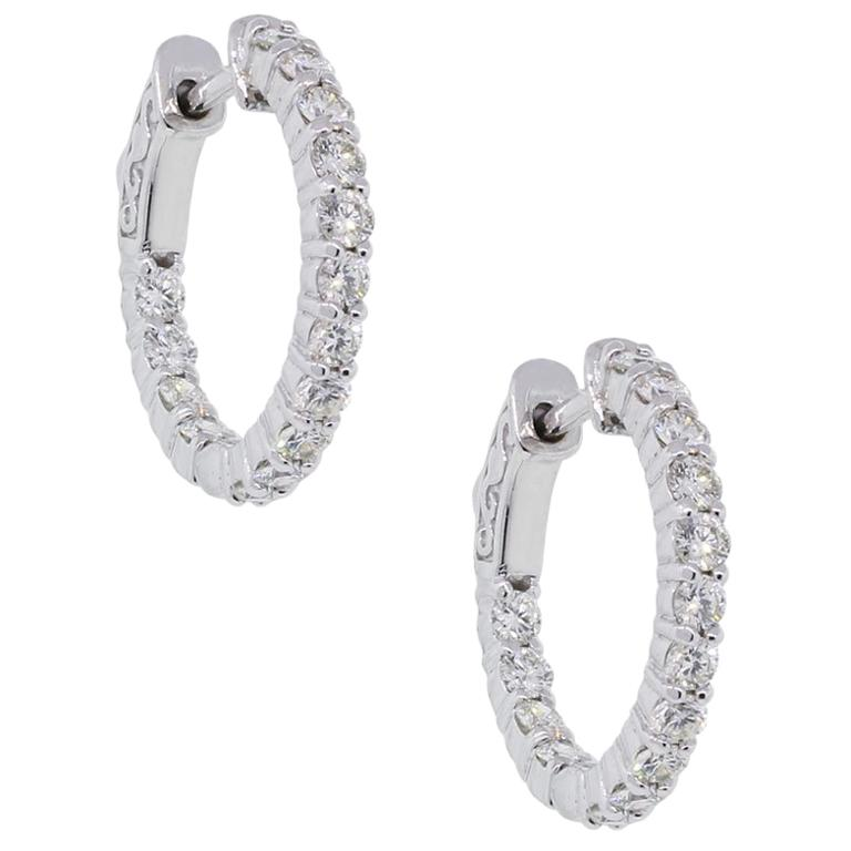 Round Diamond Inside Out Hoop Earrings For Sale