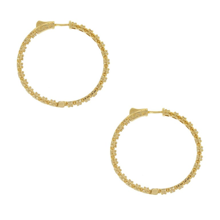 Round Cut Round Diamond Inside Out Hoops For Sale