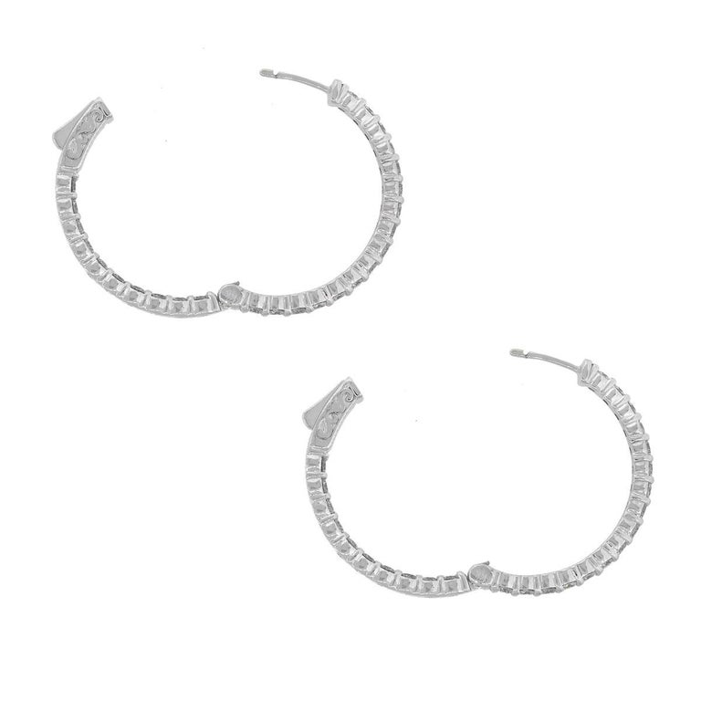 Round Diamond Inside Out Hoops In Excellent Condition For Sale In Boca Raton, FL