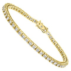 Round Diamond Line Tennis Bracelet in Yellow Gold 3.85 Carat, 14 K Yellow Gold
