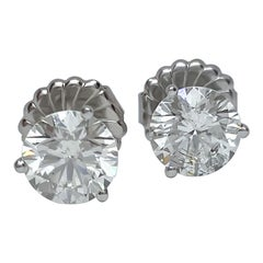 Round Diamond Martini Stud Earrings 4.01 Carat HRD Certified 14 Karat H, SI2 XXX