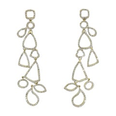 Round Diamond Modern Geometric Design Dangle Earrings in Yellow Gold