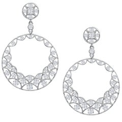 Round Diamond Open Work Chandelier Earrings