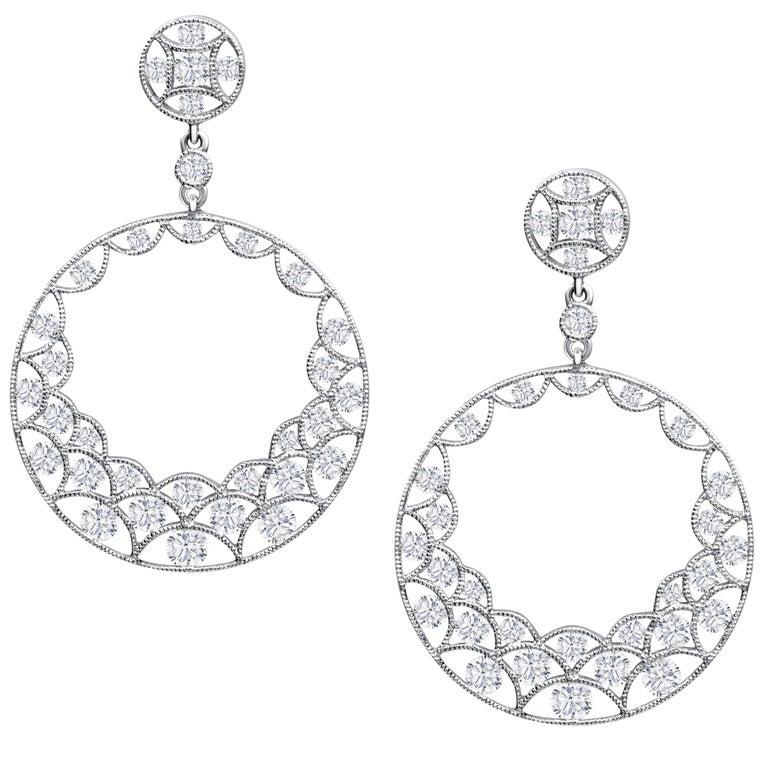 Round Diamond Open Work Chandelier Earrings
