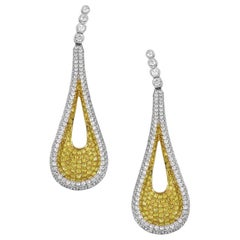 Round Diamond Pave Drop Earrings