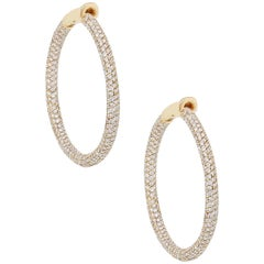 Round Diamond Pave Hoop Earrings
