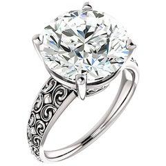 Round Diamond Platinum Engagement Ring Vintage Style 6.16 Carat GIA Certified