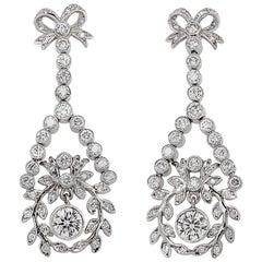Round Diamond Ribbon Floral Motif Dangling 2.61 Carat Platinum Earrings