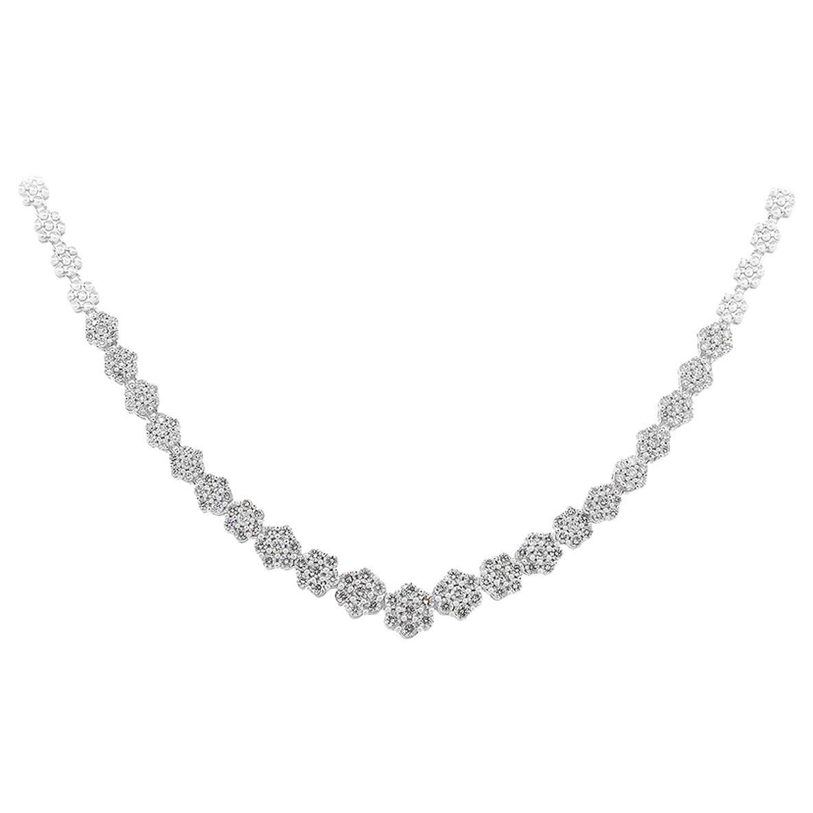 Round Diamond Riviera Cluster Necklace
