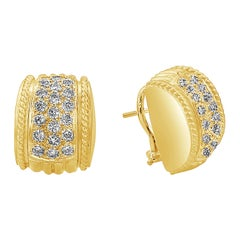 Round Diamond Semi-Circle Omega Clip Earrings