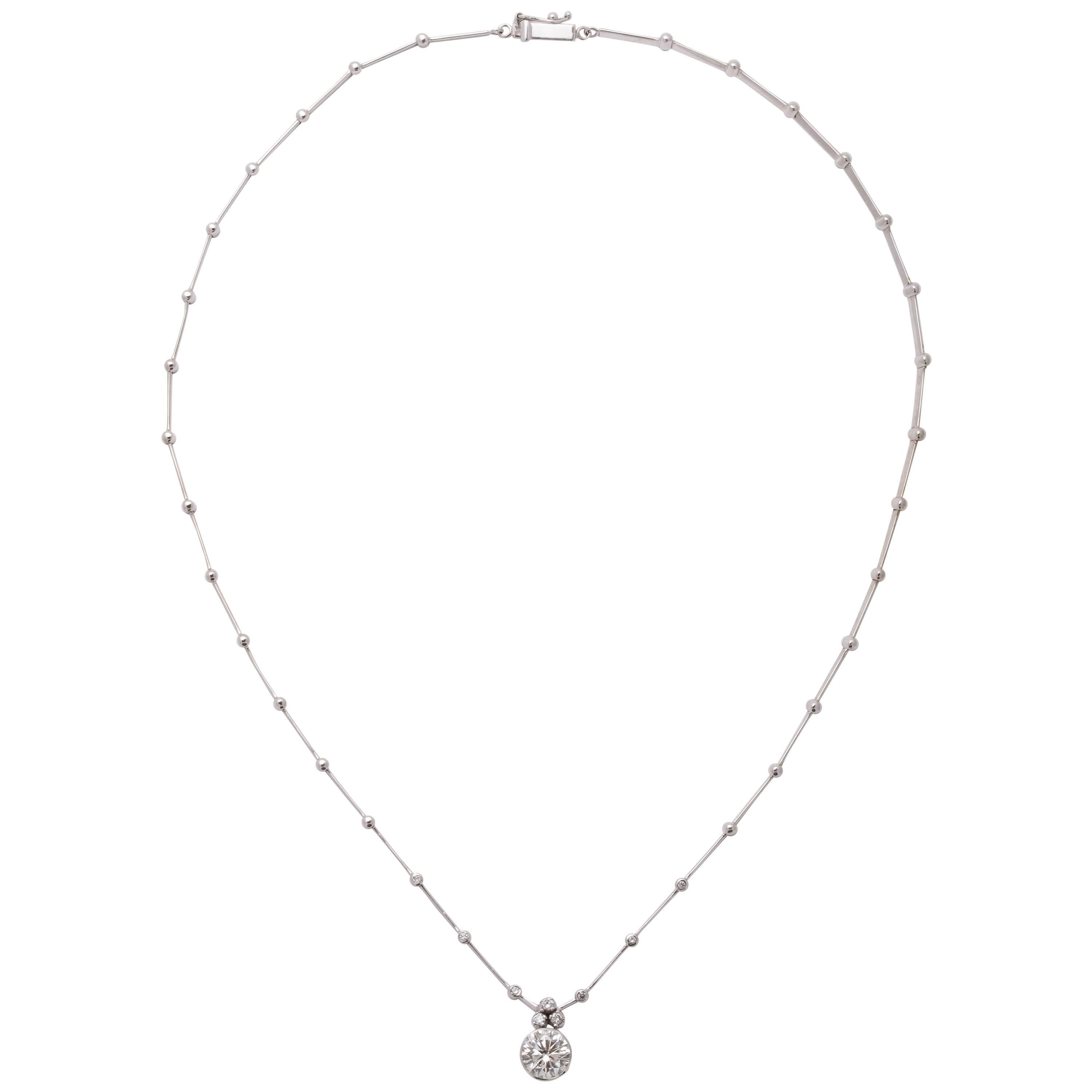 Round Diamond Solitaire Necklace GIA Certified