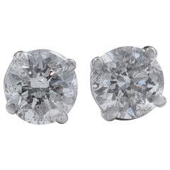 Round Diamond Solitaire Stud Earrings 2.01 Carat in 14 Karat White Gold