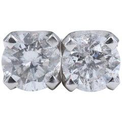 Round Diamond Solitaire Stud Earrings 2.20 Carat in 14 Karat White Gold