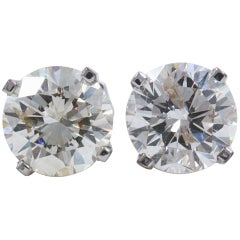 Round Diamond Solitaire Stud Earrings 2.97 Carat in 14 Karat White Gold