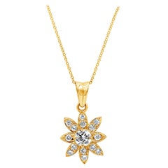 Roman Malakov Round Diamond Starburst Pendant Necklace in Yellow Gold