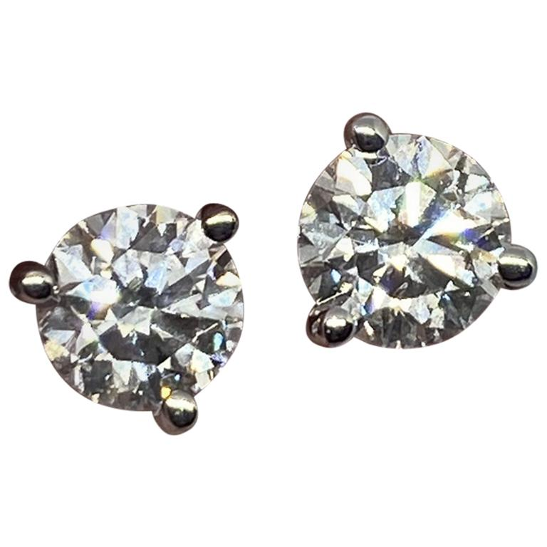 AGS Certified 1.46ctw F/E Color SI1 Round Diamond Studs in 14kt WG