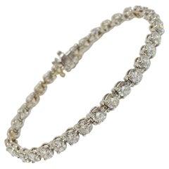 Round Diamond Tennis Bracelet 18 Karat White Gold 9.99 Carat F-G Color