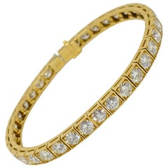Round Diamond Tennis Bracelet Square Link 18K Yellow Gold 10.80 Carat F-G VS1