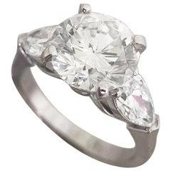 Round Diamond / Wedding Engagement Ring, 2.2 Carat Three-Stone Ring
