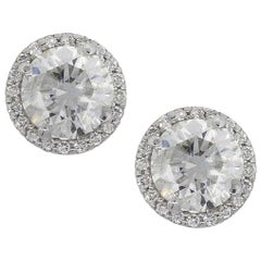 Round Diamond with Halo Studs