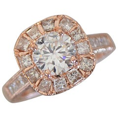 Round Diamond with Princess Halo Engagement Ring Rose Gold, 1.45 Carat