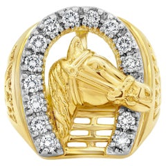 Round Diamond Yellow Gold Horse Shoe Men's Ring